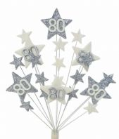 Star age 80th birthday cake topper decoration in silver and white -  free postage
